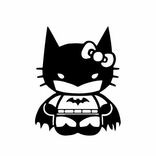 Hello Kitty Batman Vinyl Decal Sticker  Size option will determine the size from the longest side Industry standard high performance calendared vinyl film Cut from Oracle 651 2.5 mil Outdoor durability is 7 years Glossy surface finish