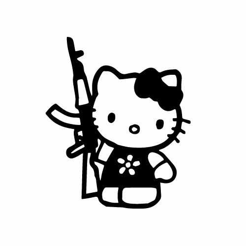 Hello Kitty Ak47 Vinyl Decal Sticker  Size option will determine the size from the longest side Industry standard high performance calendared vinyl film Cut from Oracle 651 2.5 mil Outdoor durability is 7 years Glossy surface finish