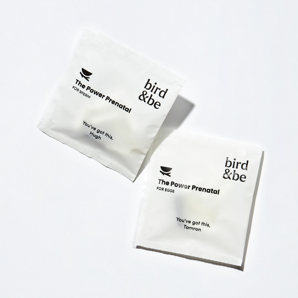 The Power Prenatal for eggs and the Power Prenatal for sperm sachets, side by side