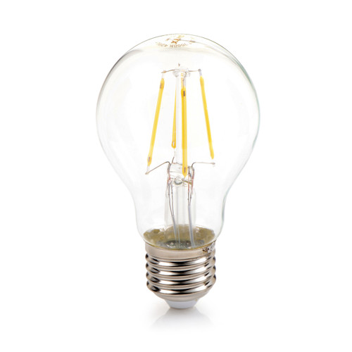 Filament A19 LED Bulb 4 Watt E26 Base Clear Glass  3000K Warm White