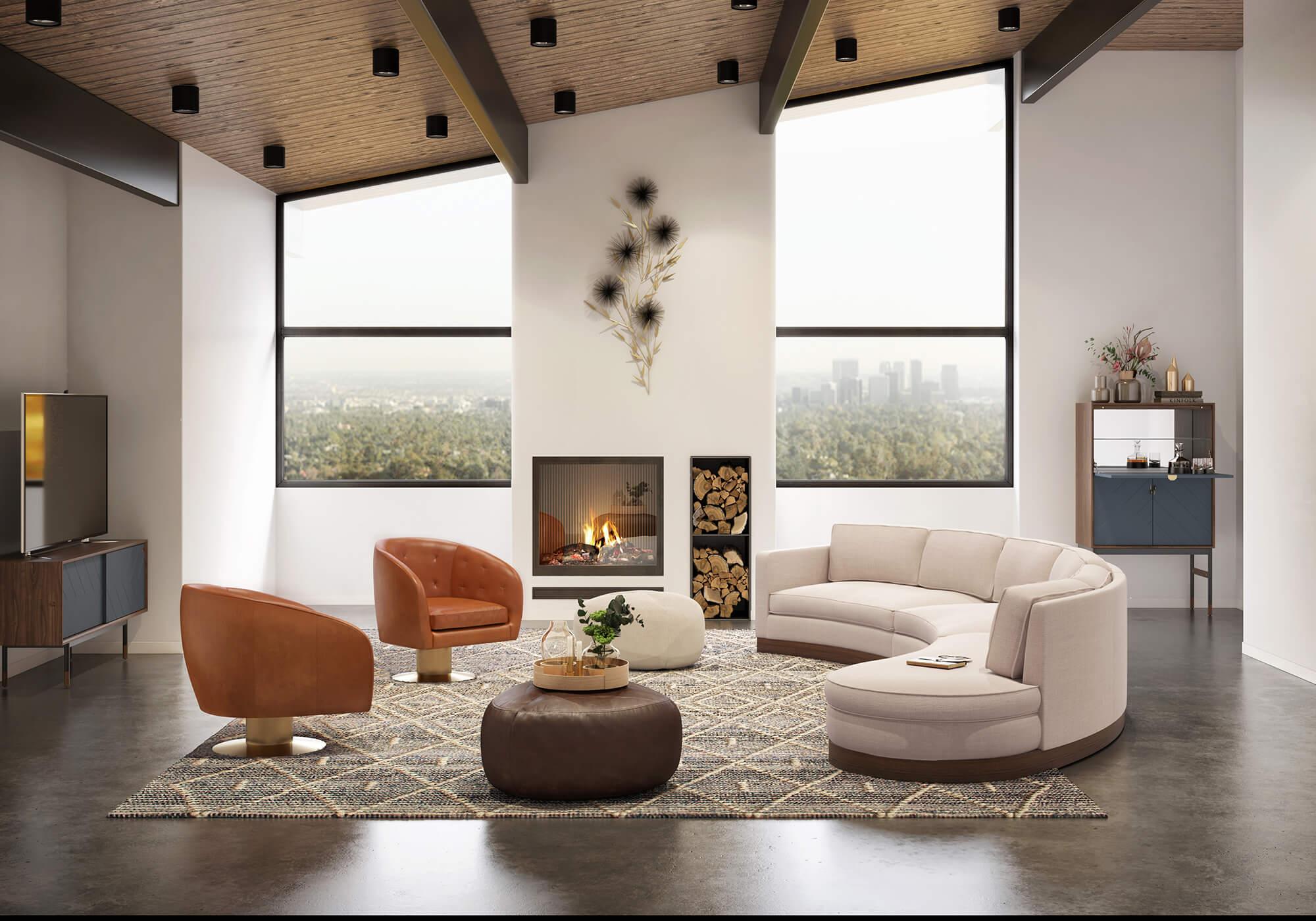Taylor Drum Boulder Urbane Luxury Leather Sofa