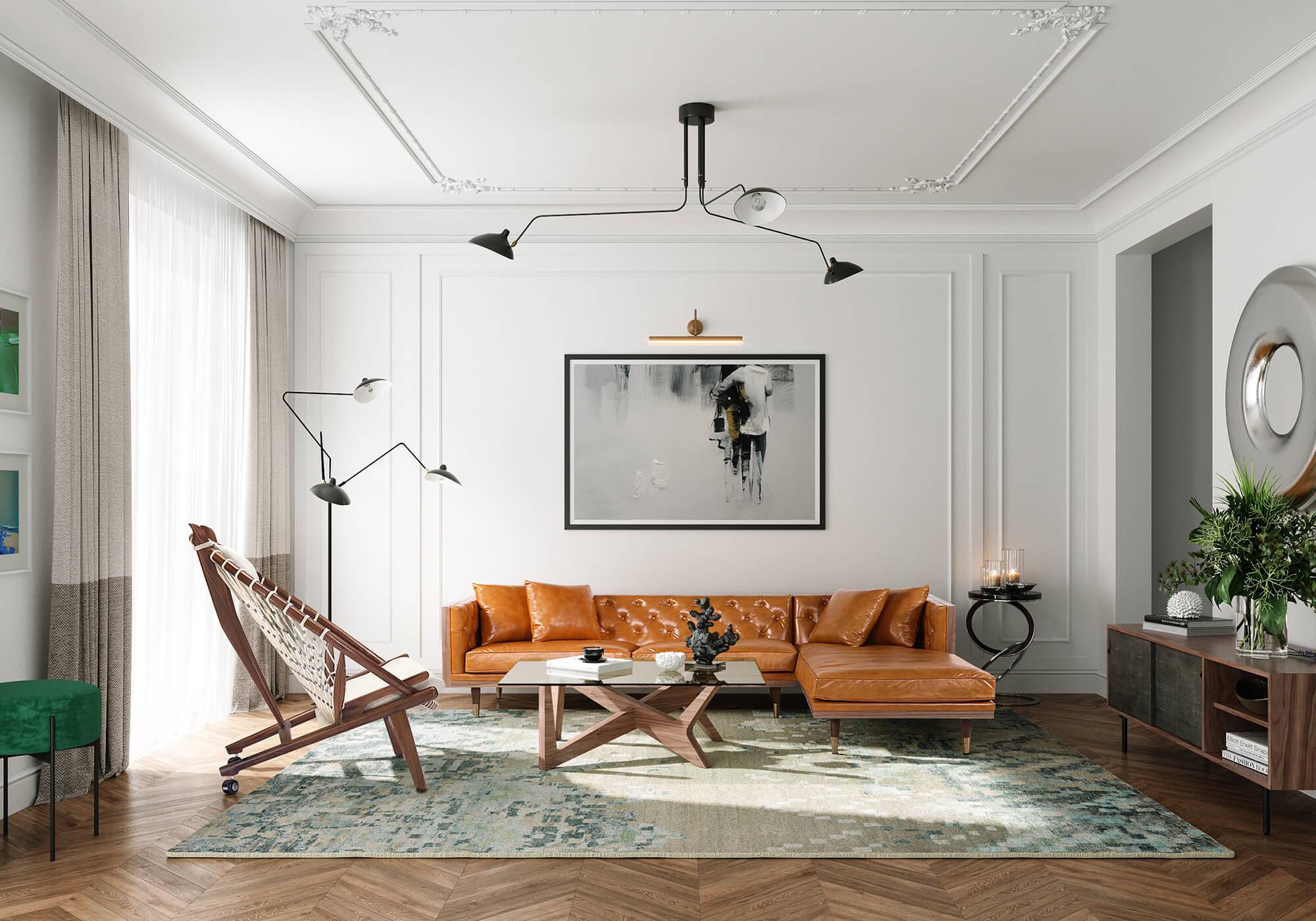 Woodneo Hoop Dream Dot Crossbow 4 Mid Century Modern Sofa
