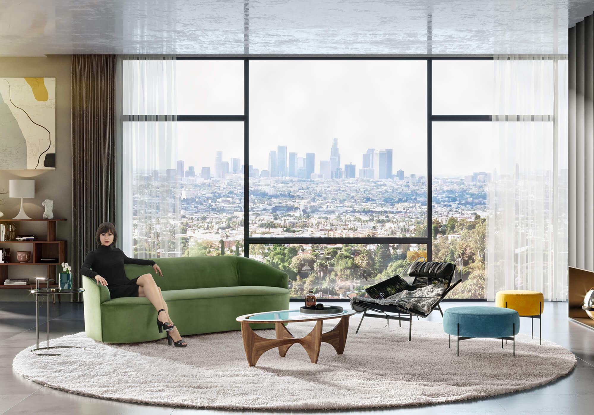 Yasmin Halyard Dream Dot Eileen Mid Centruy Modern Sofa