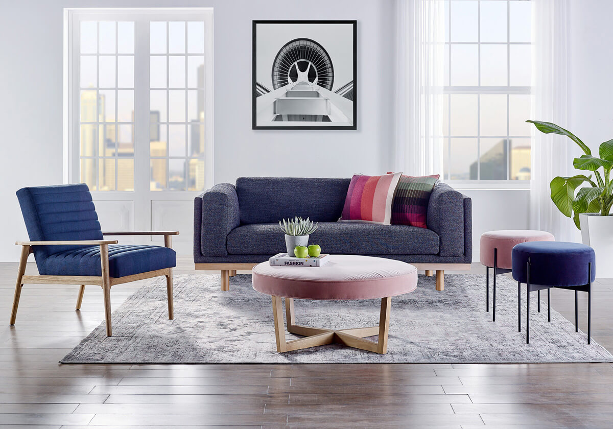 Dane 3 Mies 1 Compass Dots Modern Fabric Sofa