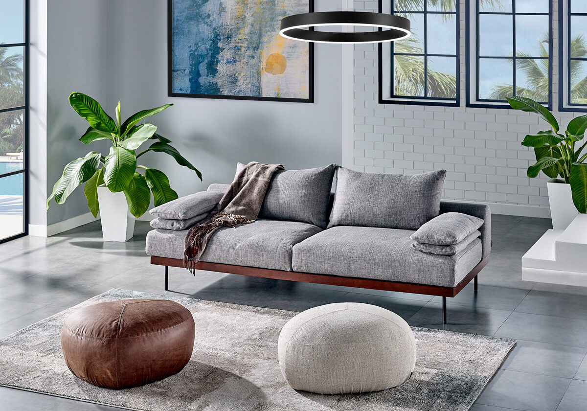 Malibu 3 Boulder Fabric Sleeper Sofa