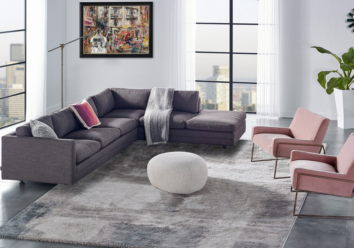 Manhattan 4 Suspend Boulder B Fabric Sectional Sleeper Sofa