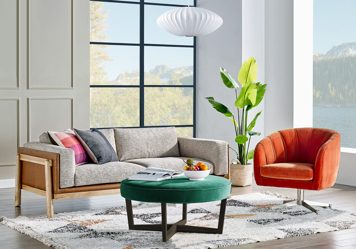 Nordic Crescent Compass B Modern Fabric Sofa