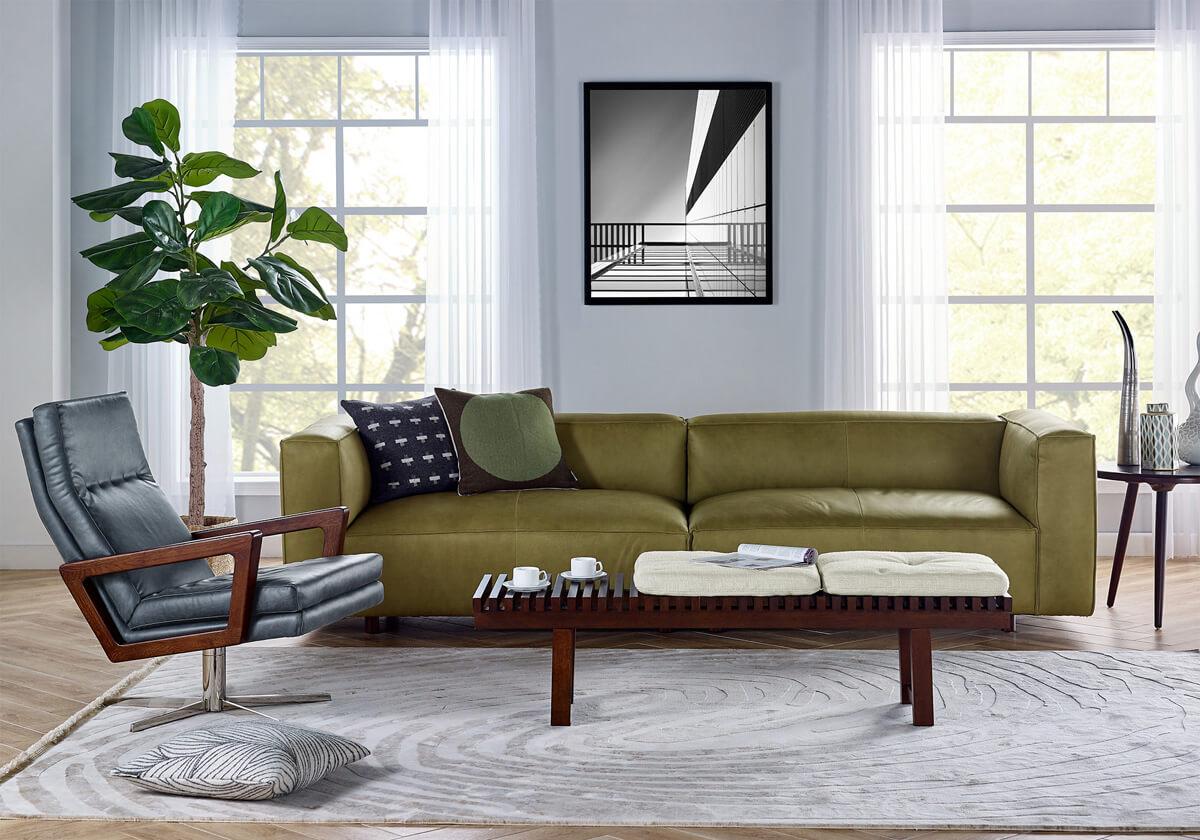 Soho Winston Slat Leather Sofa