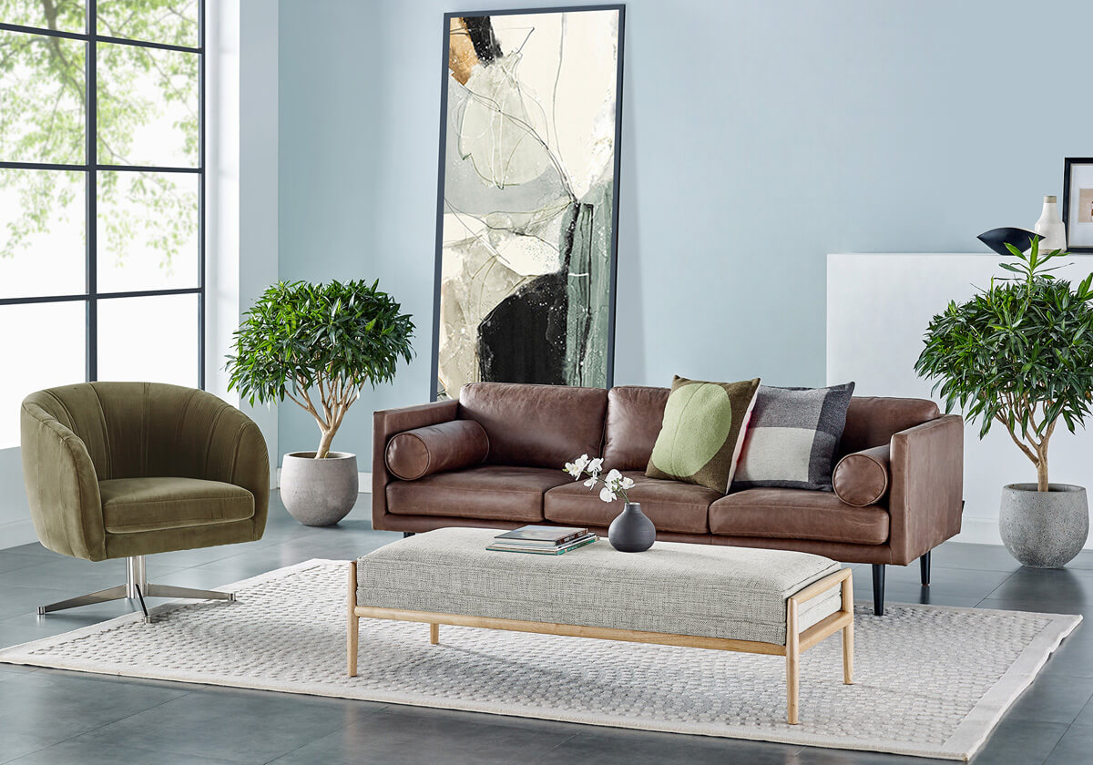 Spectre Crescent Fritz 3 Seater Leather Sofa