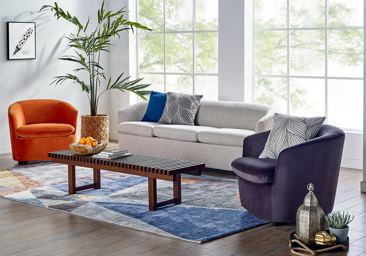 Vogue Slat 3 Seater Fabric Sofa