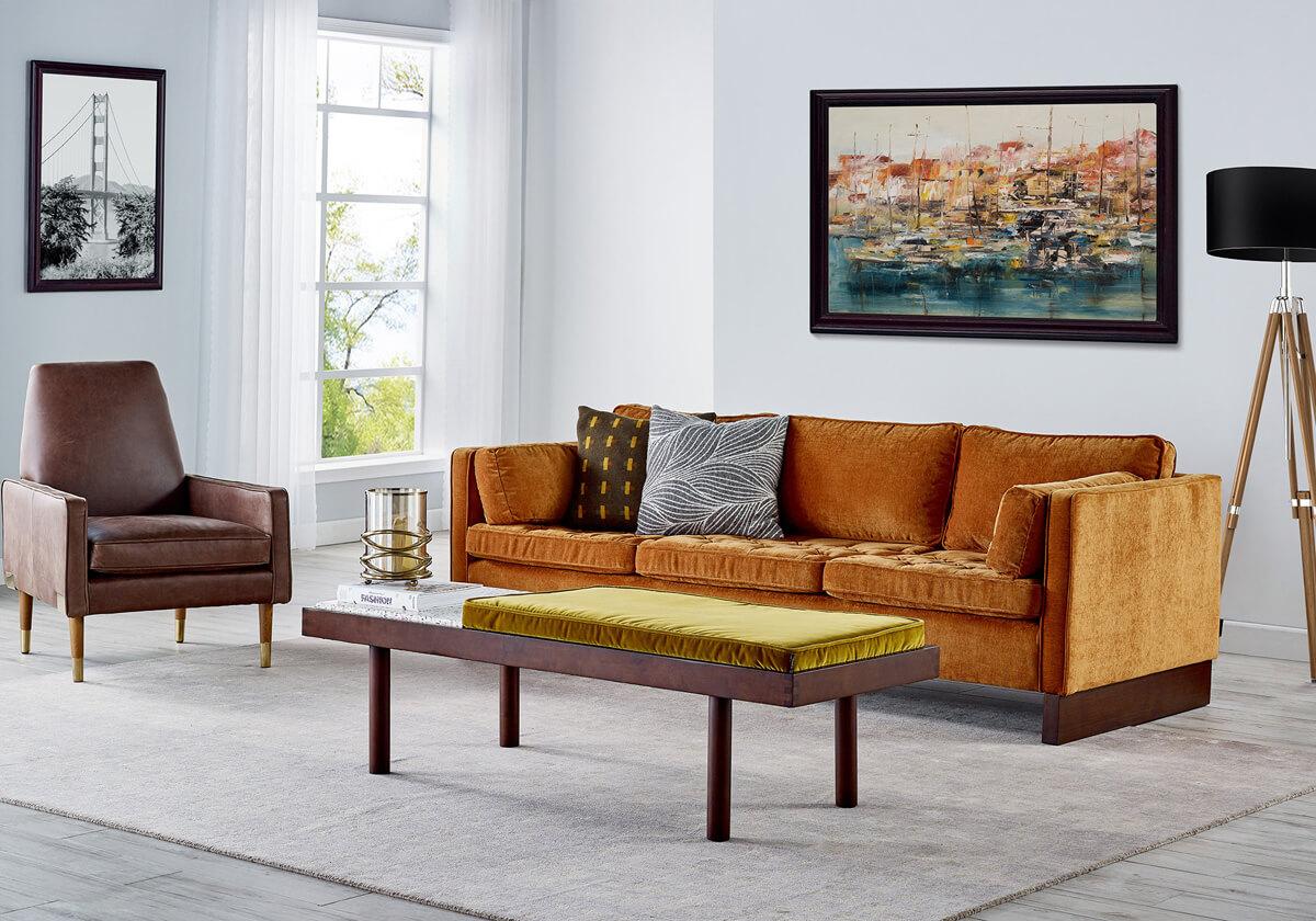 Wexler 3 Draper Teraz B 3 Seater Velvet Sofa