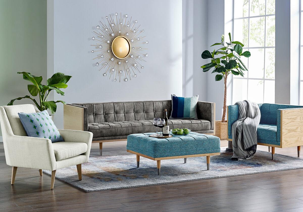 Woodrow Angle Mid Century Modern Sofa