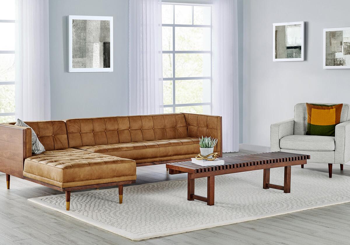 Woodrow 4 Eleanor 1 Slat Modern Sectional Sofa