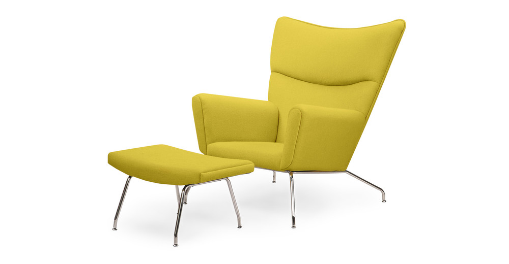 Wegner Wing Chair & Ottoman, Dijon