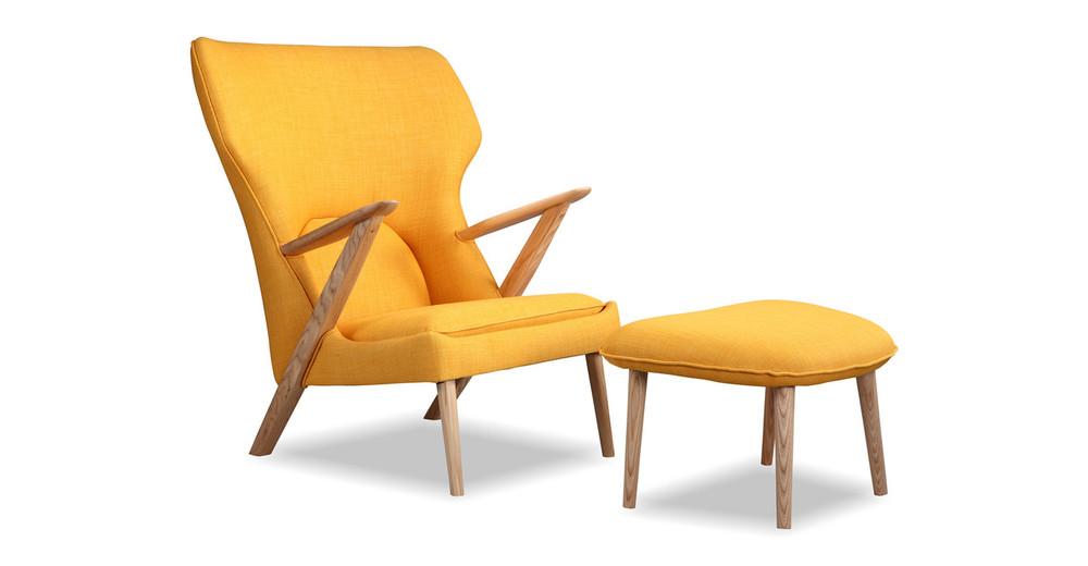 Cub Chair & Ottoman, Citrine/Ash