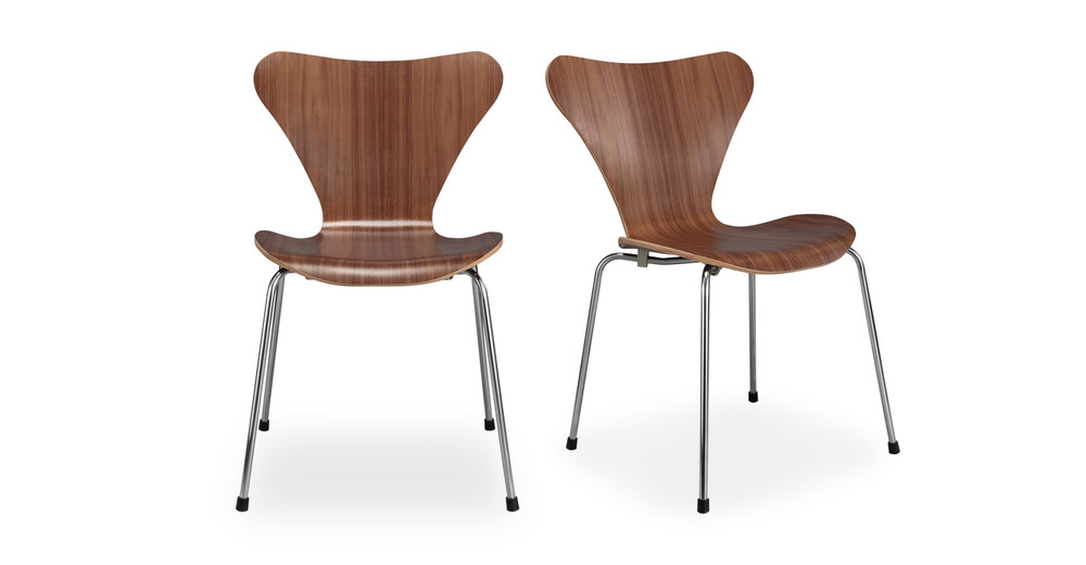 Luxe Dining Chair 2 pc set Walnut