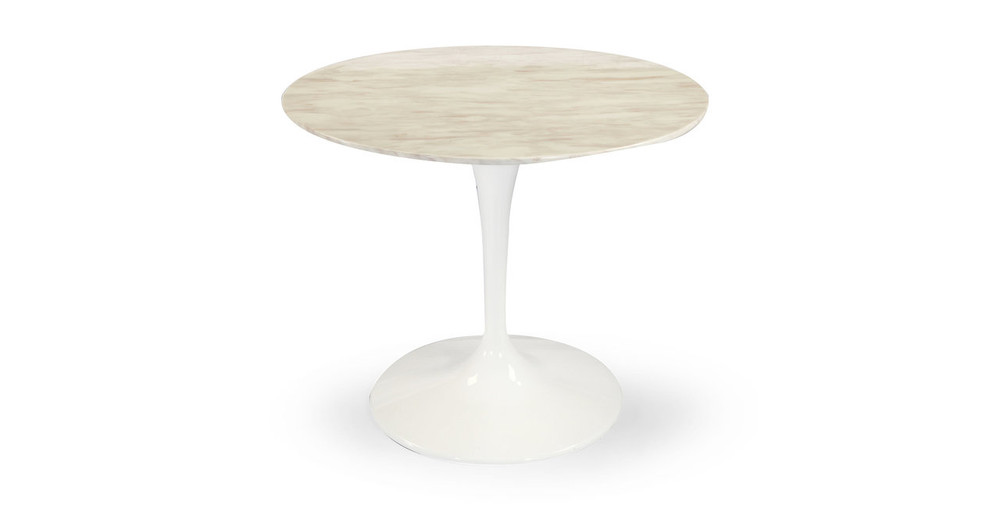 "Tulip Table, White Marble 36"" Round"