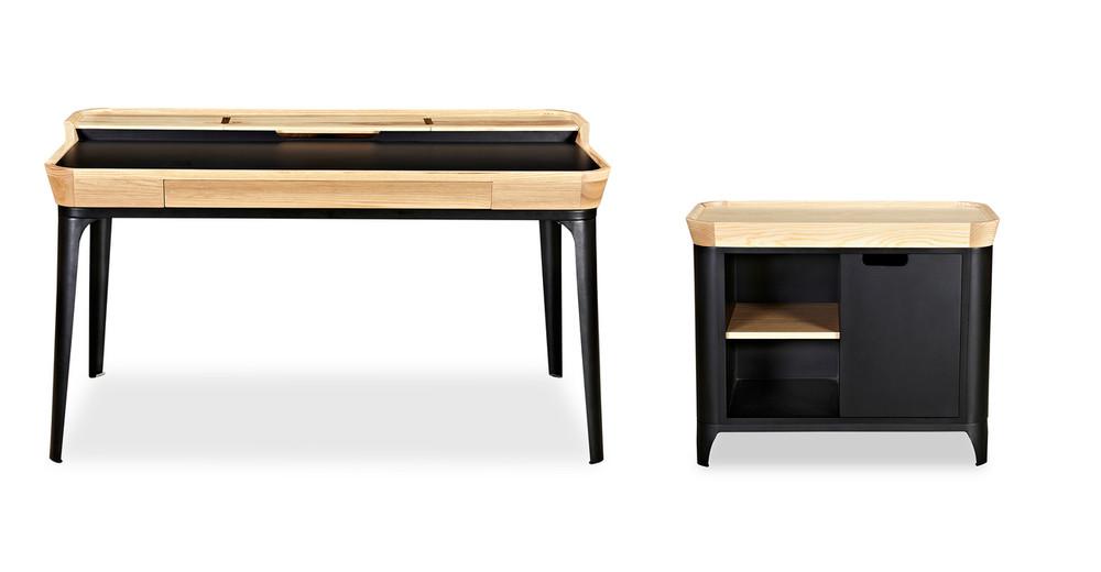 Garbo Desk & Cabinet Set, Ash/Black