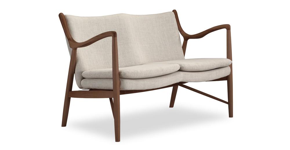 "Copenhagen 47"" Fabric Sofa, Urban Hemp/Walnut"