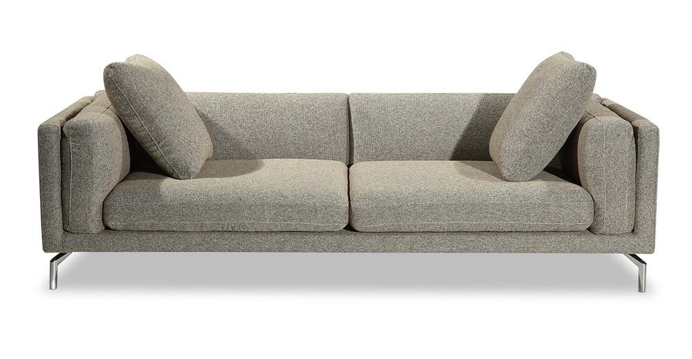"""Basil Loft 91"""" Leather Sofa, Oatmeal"""