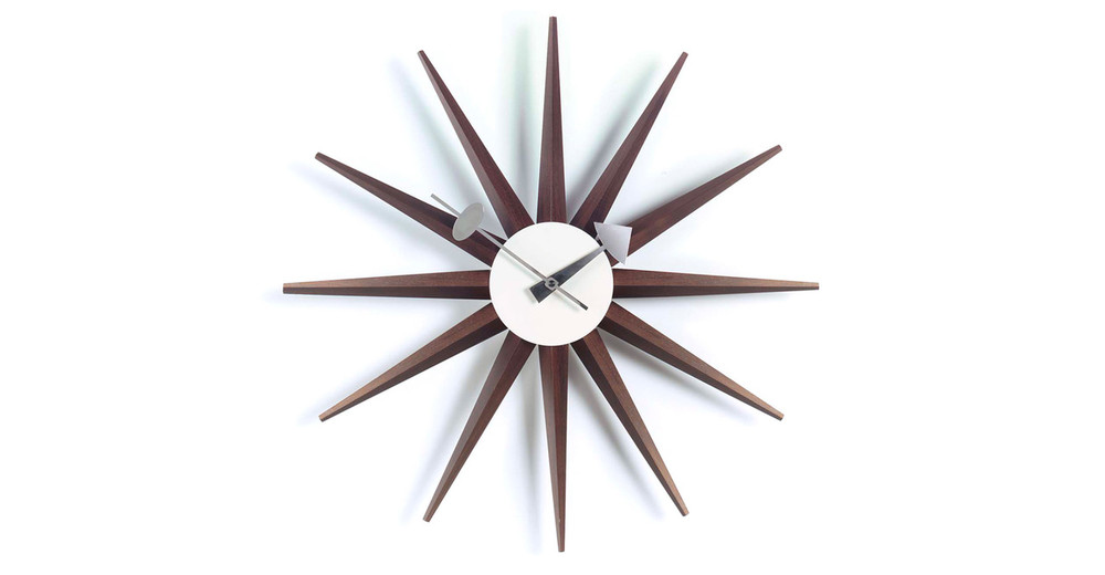 George Nelson Sunburst Clock Walnut