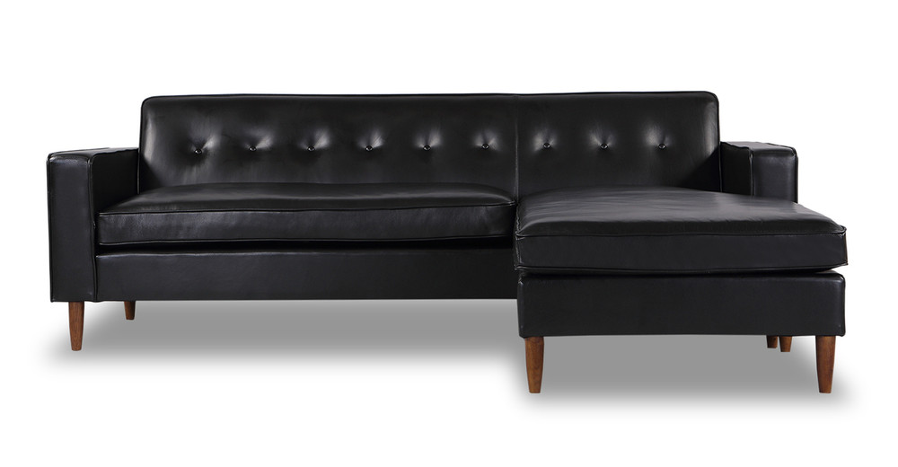 """Eleanor Sectional-Right Chaise 87"""" Leather Sofa, Black Top Aniline"""