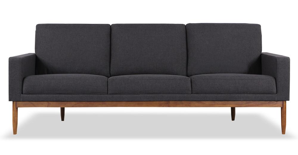 "Stilt Danish Mod 85"" Fabric Sofa, Urban Ink/Walnut"