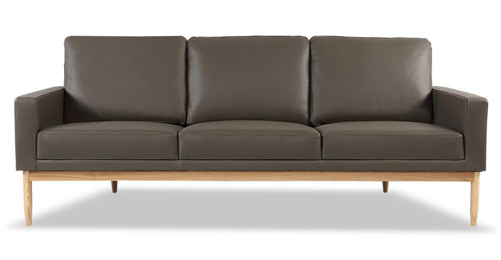 "Stilt Danish Mod 85"" Leather Sofa, Grey Aniline/Ash"