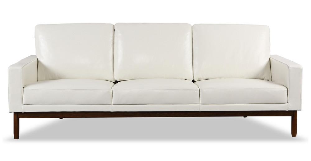 "Stilt Danish Mod 85"" Leather Sofa, White Aniline/Walnut"