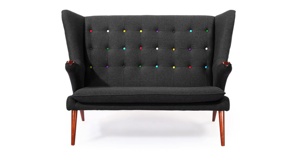 "Papa Bear 58"" Fabric Sofa, Charcoal"
