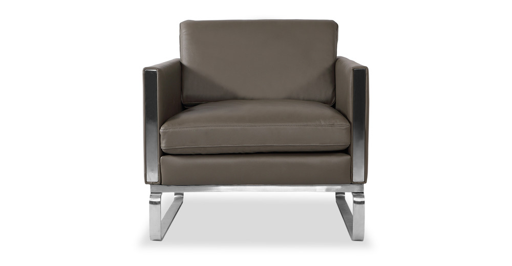 Amsterdam Chair, Grey Aniline Leather