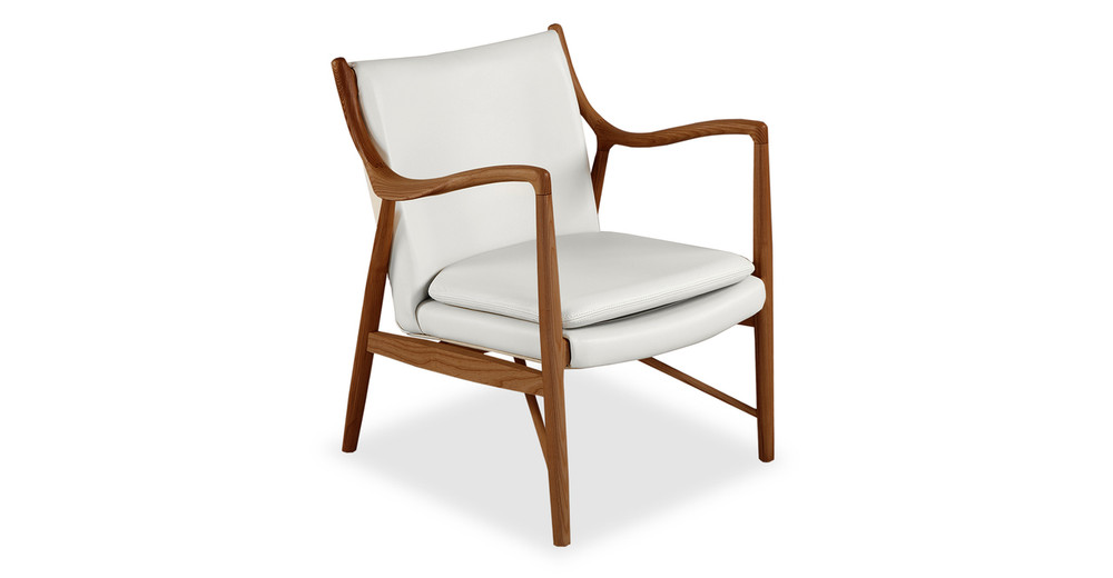 Copenhagen 45 Armchair, White Italian Leather/Walnut