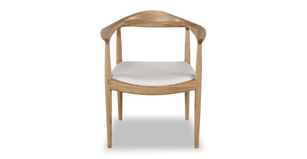 Wegner President Chair, White Leather/Ash