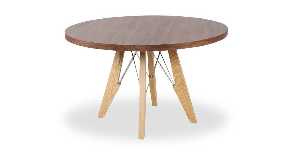 Eiffel Round Dining Table, Walnut/Ash