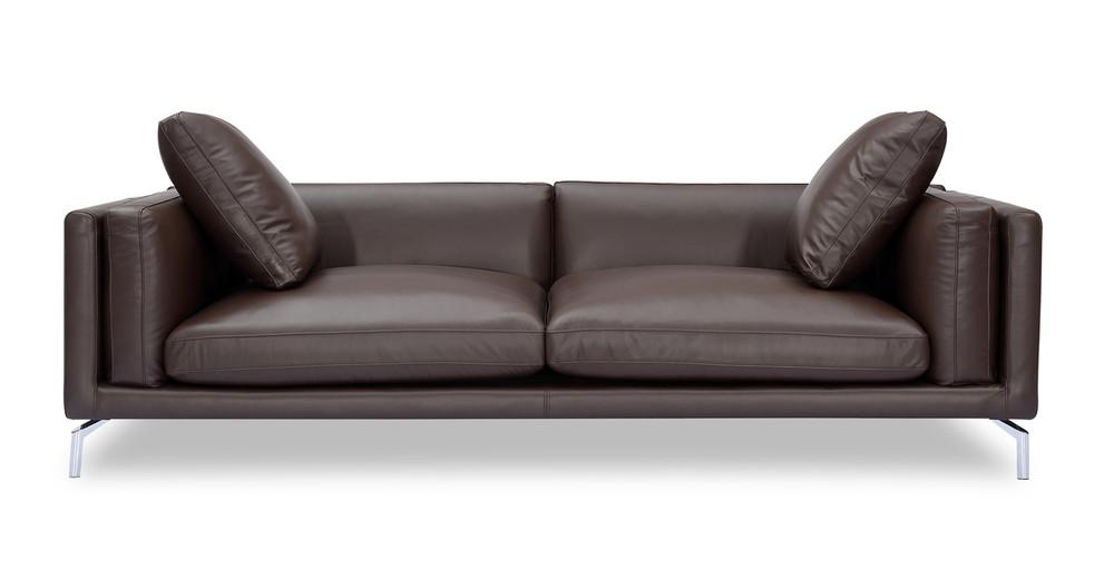 "Basil Loft 91"" Leather Sofa, Bolivarian Aniline"