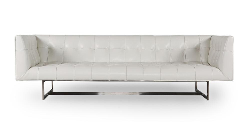 Edward Sofa, White Aniline Leather