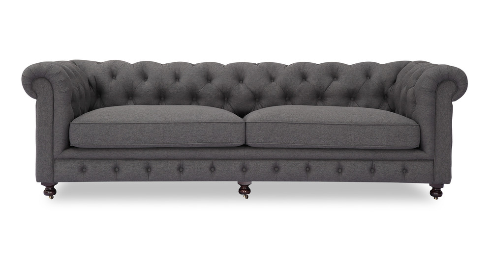 "Chesterfield 98"" Fabric Sofa, Wallstreet Twill"