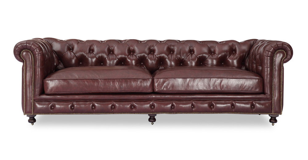 "Chesterfield 98"" Distressed Leather Sofa, Malbec Vintage"
