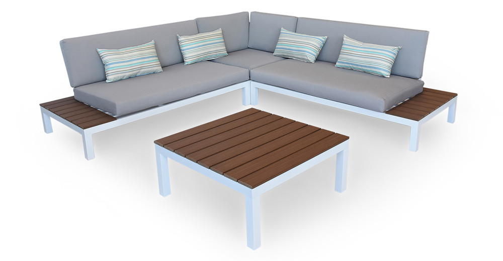 Nelson Outdoor Corner Sectional 4pc Set, White/Grey
