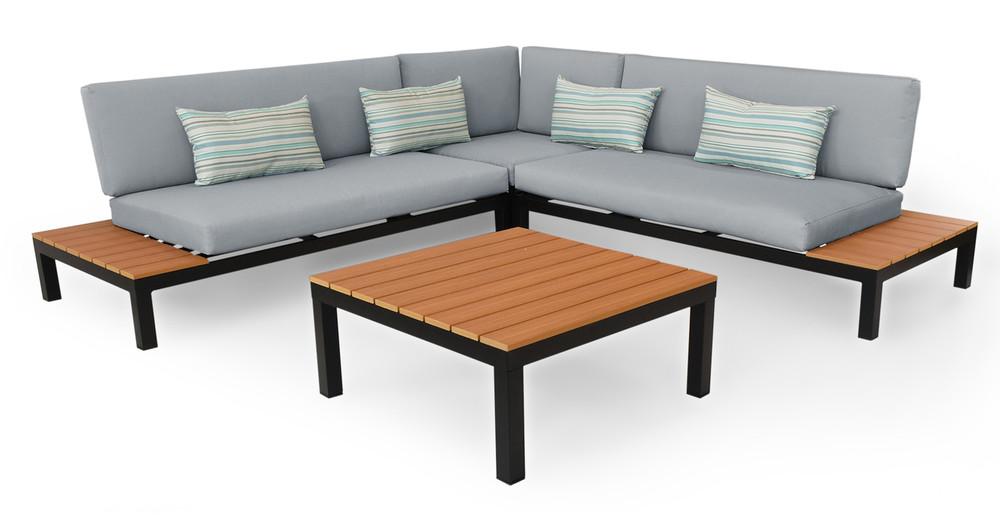 Nelson Outdoor Corner Sectional 4pc Set, Black/Grey