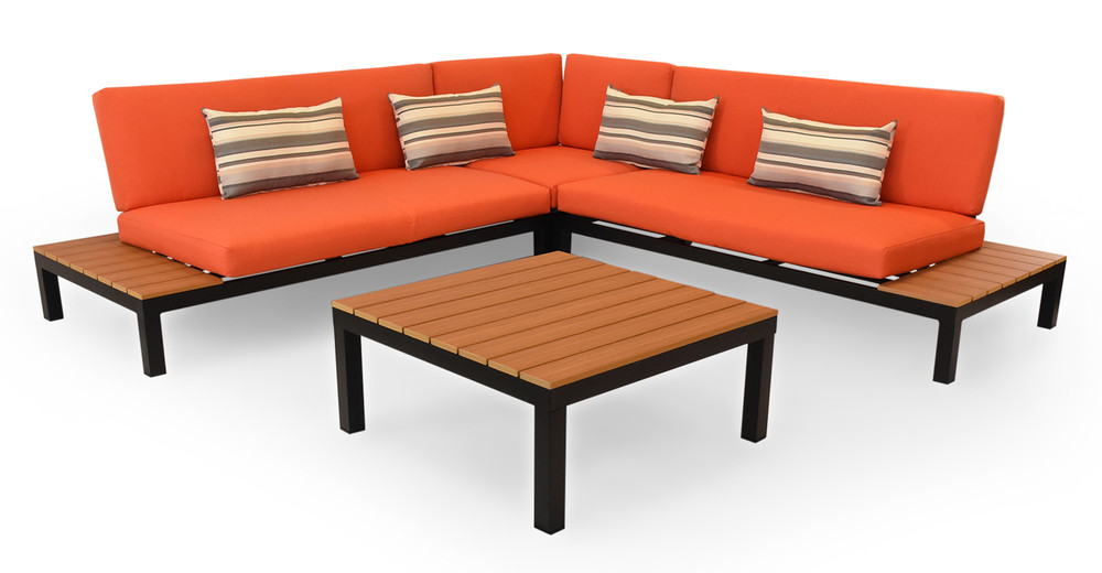 Nelson Outdoor Corner Sectional 4pc Set, Black/Orange