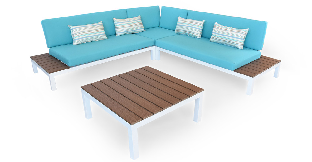 Nelson Outdoor Corner Sectional 4pc Set, White/Turquoise