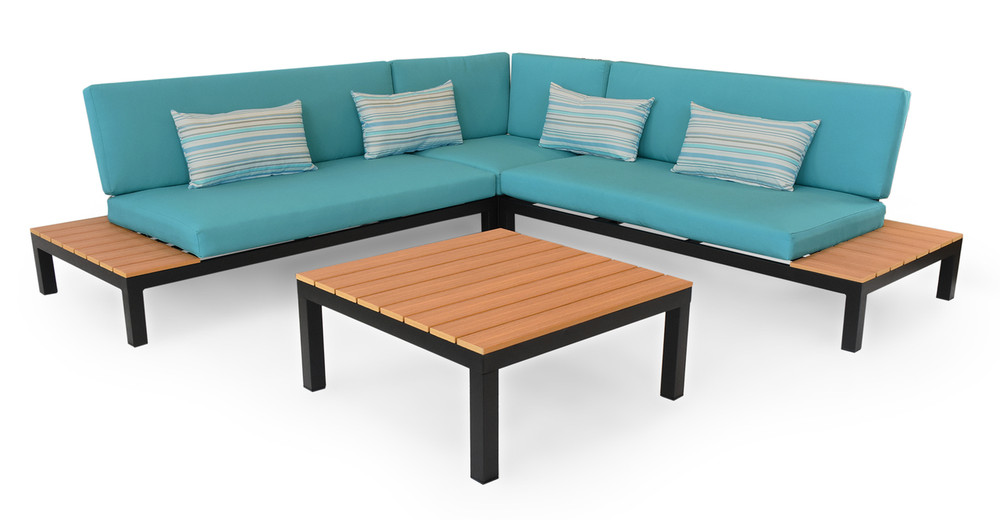 Nelson Outdoor Corner Sectional 4pc Set, Black/Turquoise
