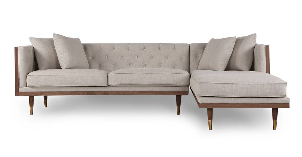 "Woodrow Neo 99"" Sofa Sectional Right, Walnut/Urban Hemp"