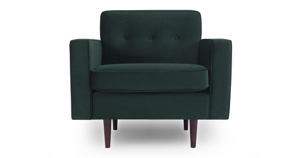 "Eleanor 35"" Fabric Chair, Forest Velvet"