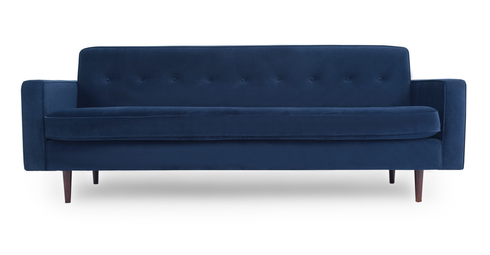 "Eleanor 85"" Fabric Sofa,  Royal Blue Velvet"