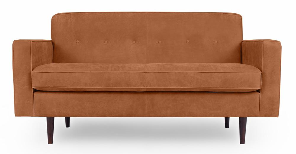 "Eleanor 60"" Leather Sofa, Cognac Full Grain Aniline"