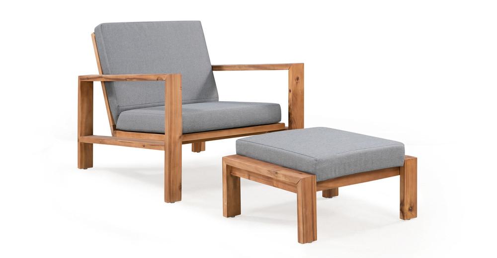 Aegean 2-pc Solid Wood Outdoor, Light Grey