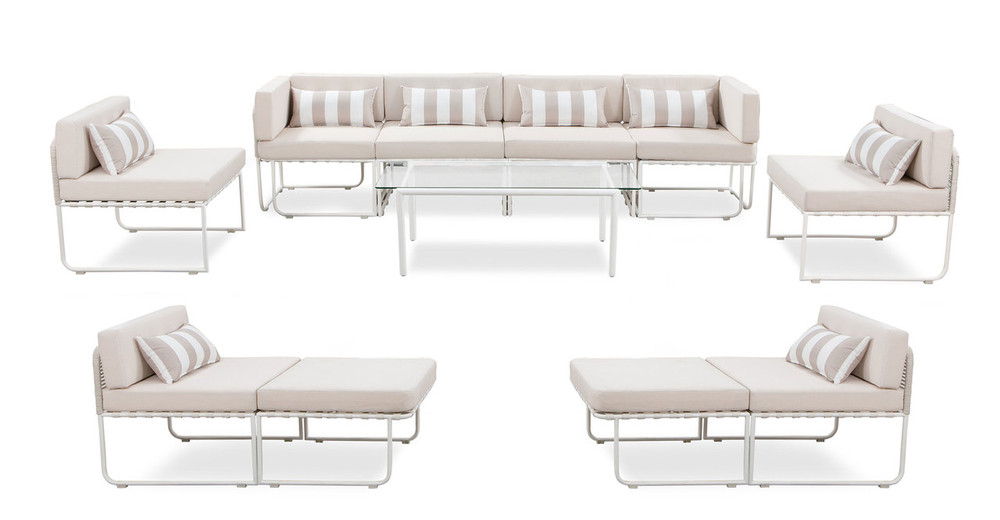 Curbed Outdoor Warbie 11-pc set, Cream/White