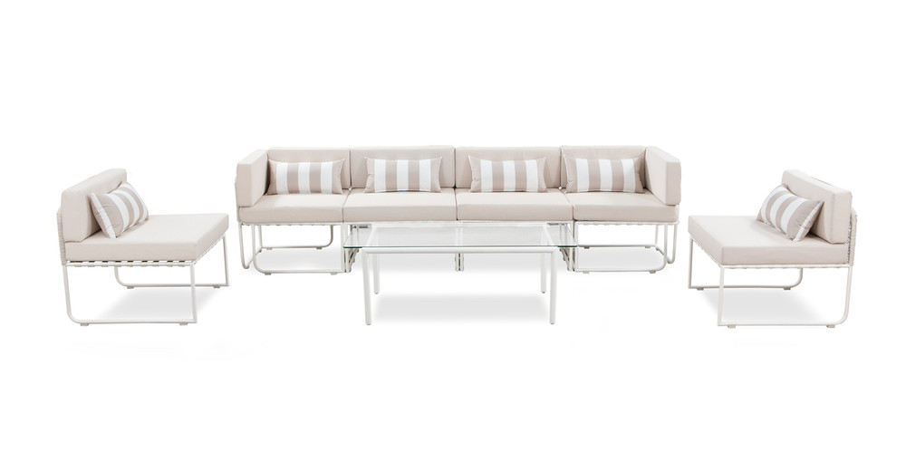 Curbed Outdoor Latitude 7-pc set, Cream/White